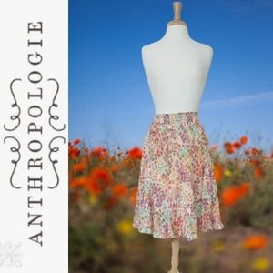 Anthropologie Fei  Poppies & Daisies Ruffle Skirt